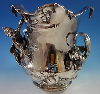 WMF Art Nouveau Silverplate Wine / Champagne Cooler 3-D Figural (#1694) Lovely!