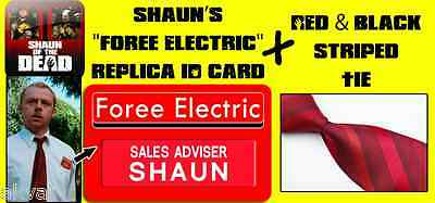 """Shaun of the Dead Replica PVC ID Card """"Foree Electric"""" & Tie Halloween Costume"""