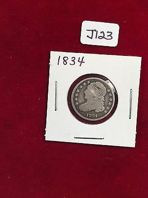 1834 Small Four  U.S. Capped Bust Dime Well Circulated Condition  J123