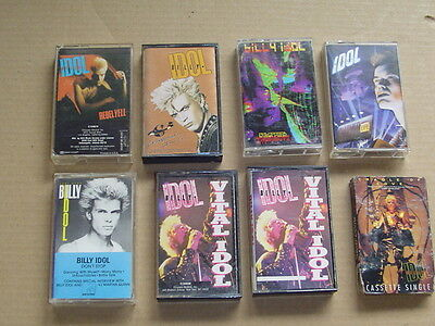 BILLY IDOL lot of 8 classic hard rock metal music cassettes collection Only Just