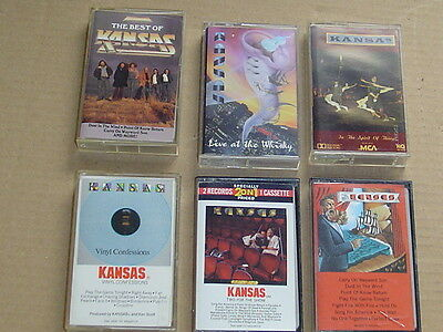 KANSAS lot of 6 classic hard rock metal music cassettes collection Only Kansas