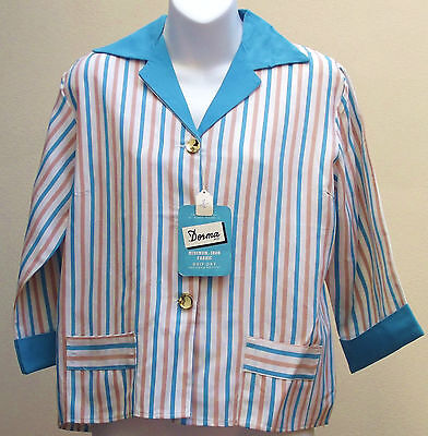 Vintage 1950s ladies jacket UNUSED womens striped blazer DORMA fabric DEV ROU