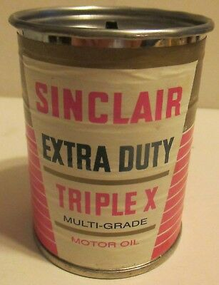 Sinclair Extra Duty Triplex Motor Oil Miniature Oil Can Tin Bank