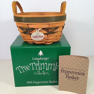 Longaberger PEPPERMINT 1st Tree Trimming Basket GREEN 1999 Christmas Holiday NEW