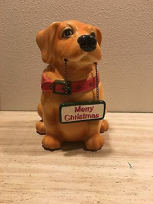 CKRO Puppy Dog Ceramic Merry Christmas/ Welcome Cookie Jar Brown