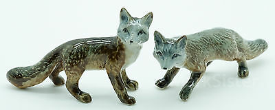 Figurine Animal Miniature Ceramic Statue 2 Fox - CWT010