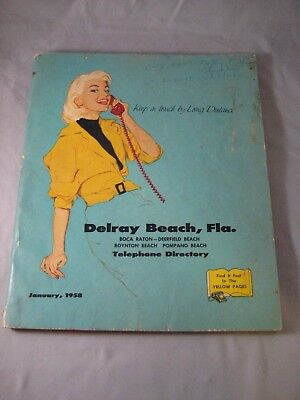 Vintage 1958 Delray Florida FL Phone Book Telephone Directory Yellow Pages