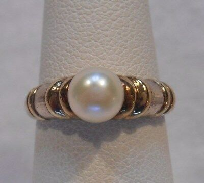 *Vintage Estate~CNA Pearl925 Sterling Silver & Gold Accents Ring Size 6