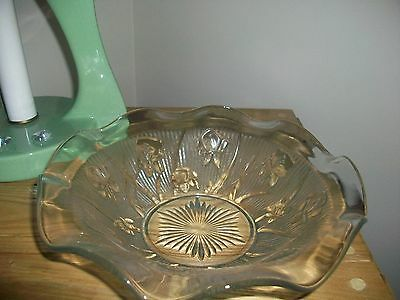 Jeannette Depression Glass Iris-Herringbone Fruit-Salad Bowl