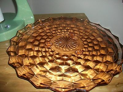 Vintage Fostoria Glass Co. American Pattern Pink Footed Cake Tray