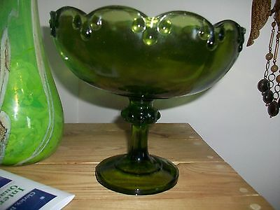 Vintage  Indiana  Carnival Glass Forest Green Compote
