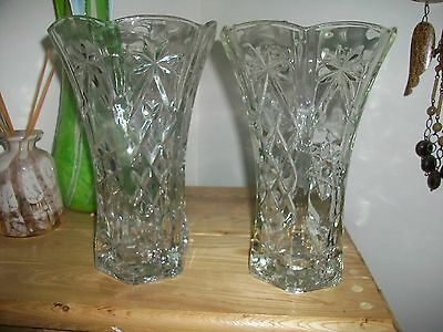 Vintage Pair Of Early American Prescut Anchor Hocking Vases