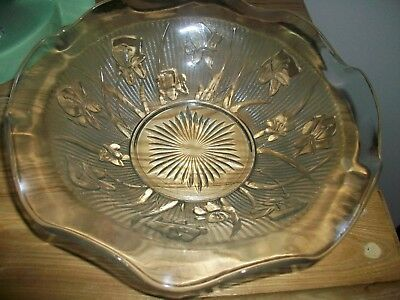 Vintage Jeannette Depression Glass Iris-Herringbone Fruit-Salad Bowl
