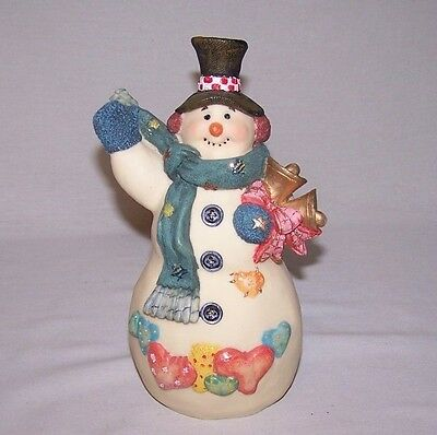 A Happy Snowman  With Bells Figurine