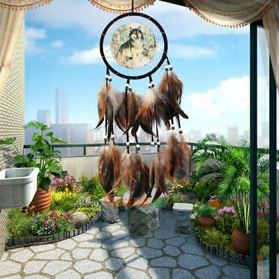 Wolf Totem Dream Catcher with Feather Bead Handmade Wall Hanging Decor Ornament