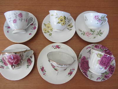 Mixed Vintage Lot Of Floral Cups & Saucers