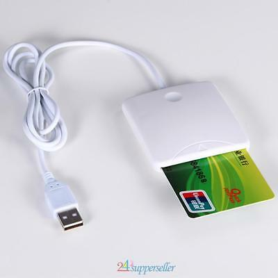 480 Mbps USB Contact Smart Chip Card IC Cards Reader Writer With SIM Slot White