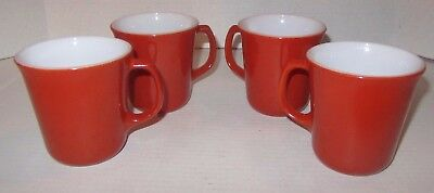 Lot of 4 Vintage Burnt ORANGE CORNING Coffee Mugs Cups Rust Orange Cinnamon