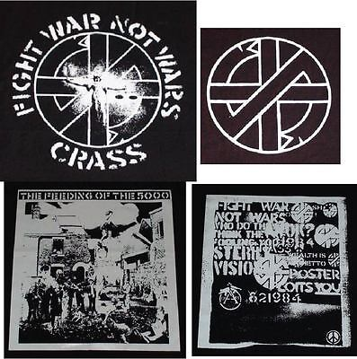 CRASS  big back patches-punk rock anarchy fight war not wars