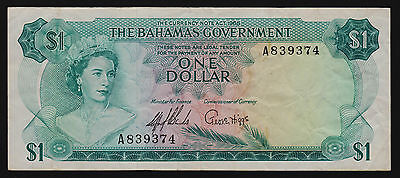 Bahamas $1 One Dollar Banknote 1965 P-18a signature Sands & Higgs