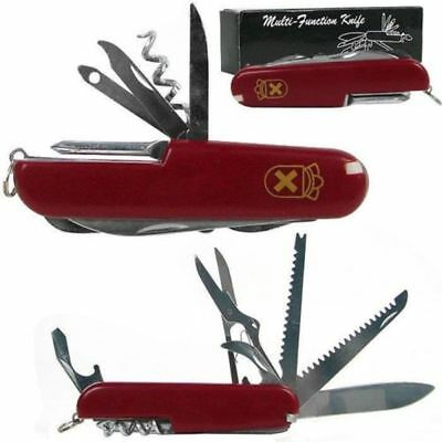Swiss Style Army Knife Red or Black - 13 Function Knife by Whetstone w/ Gift Box