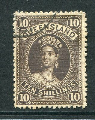 Queensland 1886 10/- Brown Chalon Sg160 Very Fine Used