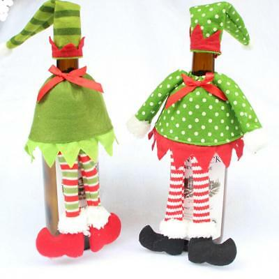 Cute Green Elf Wine Bottle Cover Christmas Gift Wrapping Bag Table Ornament