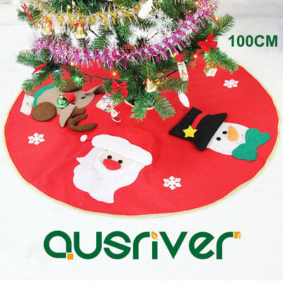 100cm Santa Claus Christmas Tree Skirt Stands Ornaments Xmas Party Decoration