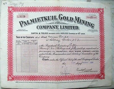 England. South Africa Palmietkuil Gold Mining Company Limited stock certificate