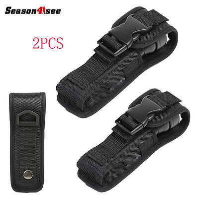 2Pcs 17x4x2cm Small Flashlight Pouch/Holster + Buckle for Torch Belt Black
