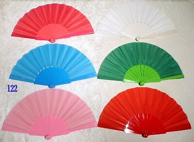 Lot of 6 SOLID COLOR Asian Chinese Japanese HAND FAN Folding Dance Fan New