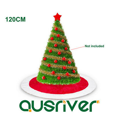 120cm Red Christmas Tree Skirt Stands Round Ornaments Xmas Party Decoration Home