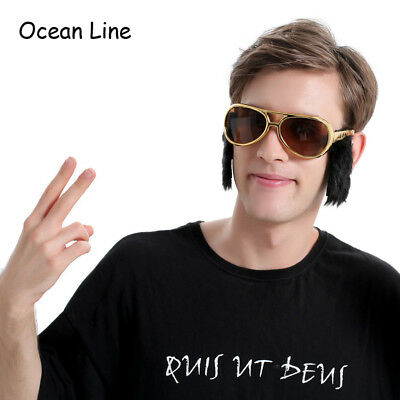 Funny Elvis Goggles Costume Glasses with Sideburns Rock and Roll Mask Party