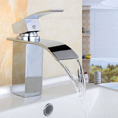 Modern Chrome Waterfall Bathroom Basin Sink Mixer Tap Bath Filler Shower Tap New