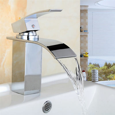 UK Hot/Cold Chrome Plated Waterfall Tap Sink Kitchen Wash Basin Faucet With Hose