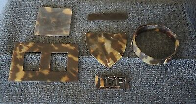 Old Jeweller'S Stock Tortoiseshell Colour Shapes Shield Buckle Bangle Reuse #2