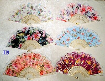 6 Pcs White Lace Rim Floral Asian Chinese Japan Dance Hand held Folding Fan New!