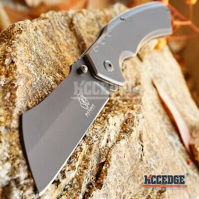 "8"" TITANIUM GREY Cleaver Razor Blade Spring Assisted Pocket Knife PBK205GY XMAS"