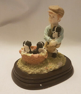 regency fine arts boy with pets - ornament
