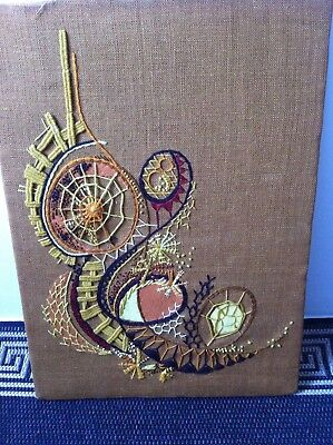 OLD VINTAGE Retro Abstract Cool Embroidered Embroidery Picture 60's