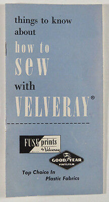 Vintage How to Sew with Velveray Booklet 1951 Fuse Prints Good Year Vinylfilm