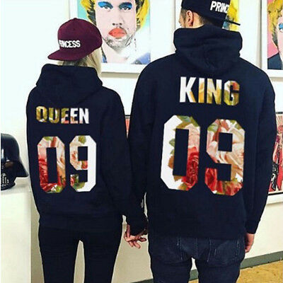 Couple Casual Hoodie The King And Queen Love Matching Couple Pullover Coat USA