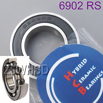 6902 2RS Si3N4 Hybrid Ceramic Ball Bearing Rubber Sealed 15 x 28 x 7mm