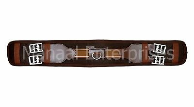 Nylon Western Cinches Elastic Horse Girth Stainless Steel Buckles Color Brown