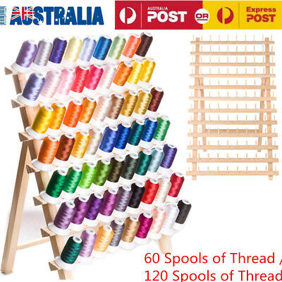 Wooden 60/120 Spools Folded Thread Rack Sewing Embroidery Stand Holder Organizer