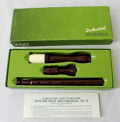 Vintage Dolmetsch Treble Alto Sopranini Recorder in F w Orig Box & Instructions