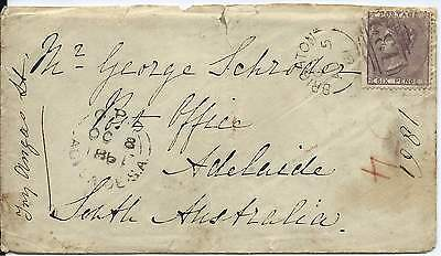 GB 1861 6d Lilac Cover with Brighton 132 Sideways Duplex to PO Adelaide