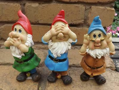 Gnomes See No Evil Hear No Evil Speak No Evil Indoor *garden Statue* Polyresin