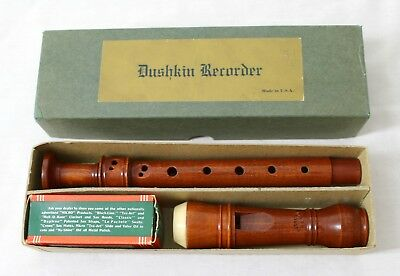 Rare David Dushkin Cherry Wood Recorder Instrument in C with Box & Accessories