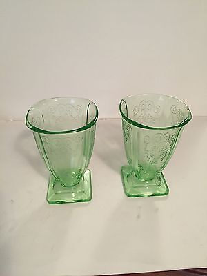 2 Lorain Basket Depression Tumblers With Small Chips